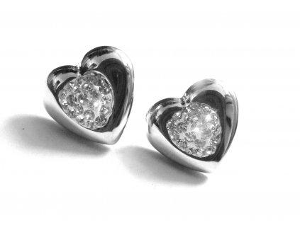 náušnice - chirurgická ocel - srdce - 151104