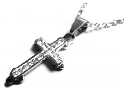 řetízek s přívěskem - chirurgická ocel - křížek - 151022