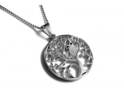 řetízek, náhrdelník - chirurgická ocel - strom života se sovou - 171022
