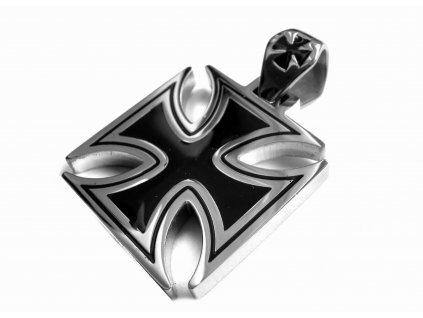 přívěsek - maltézský kříž - motorkářský - chirurgická ocel - 160303