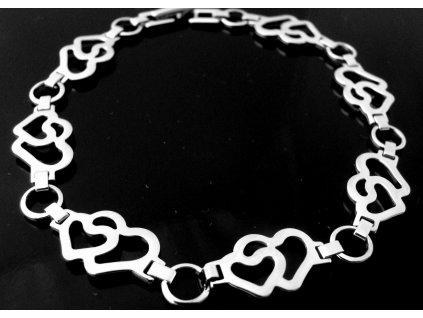 náramek - chirurgická ocel - srdíčka - dámský - 130155