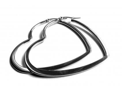 náušnice - chirurgická ocel - srdce - 500430