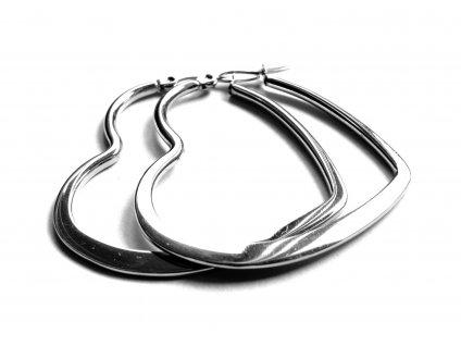 náušnice - chirurgická ocel - srdce - 500418