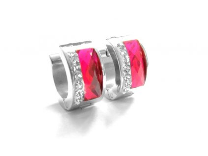 náušnice - chirurgická ocel - kroužky - růžové - 090213