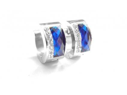 náušnice - chirurgická ocel - modré - kroužky - 090212