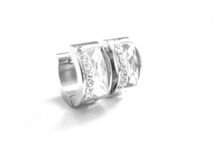 náušnice - chirurgická ocel - kroužky  bílé - 090211