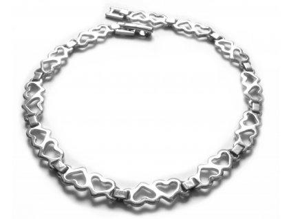 náramek - chirurgická ocel - srdíčka - dámský - 140902