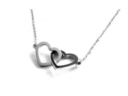 řetízek - náhrdelník - chirurgická ocel - propojené srdce - 090375