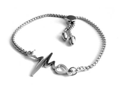 náramek - chirurgická ocel - tep srdce - 090252