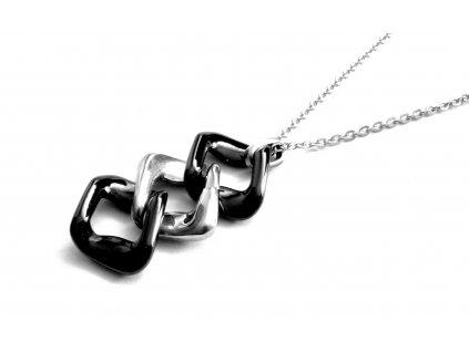 řetízek s přívěskem - chirurgická ocel + keramika - 090457