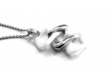 řetízek s přívěskem - chirurgická ocel + keramika - 090459
