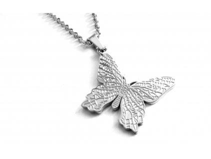 řetízek a přívěsek - náhrdelník - chirurgická ocel - motýl - 171041