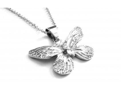 řetízek a přívěsek - náhrdelník - chirurgická ocel - motýl - 140218