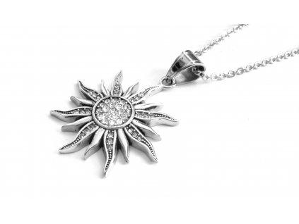 řetízek a přívěsek - náhrdelník - chirurgická ocel - slunce - 140132