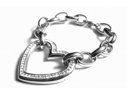 náramek - chirurgická ocel - srdce - dámský - 090478