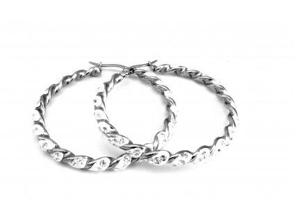 náušnice - chirurgická ocel - kroucené kruhy - 130186