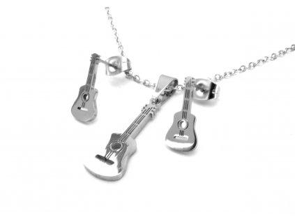 souprava - řetízek s přívěskem a náušnice - chirurgická ocel - kytara - 111110
