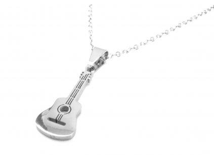 řetízek a přívěsek - chirurgická ocel - kytara - 130202