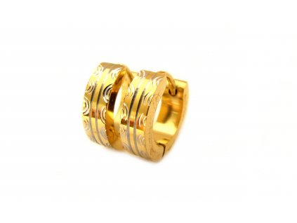 náušnice - chirurgická ocel - kroužky - gold - 140324