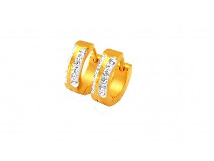 náušnice - chirurgická ocel - kroužky - gold - 130208