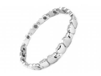 náramek - chirurgická ocel - magnetický - dámský - srdce - 090498