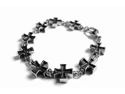 náramek - chirurgická ocel - maltézský kříž - 150107