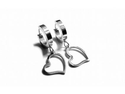 náušnice - chirurgická ocel - srdce