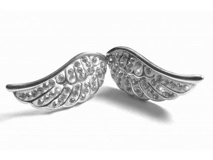 náušnice - chirurgická ocel - křídla s kříšťálky - 150903