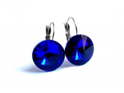náušnice - chirurgická ocel - 12 mm - modré - 150907