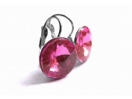 náušnice - chirurgická ocel - 12 mm - růžové - 150911