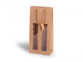 Papírová taška na 2 vína s okénkem