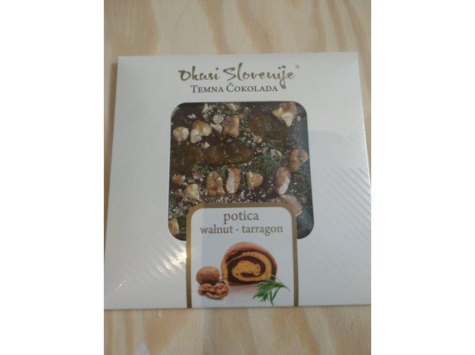 Hořká čokoláda potica (ořechy-estragon) 90g