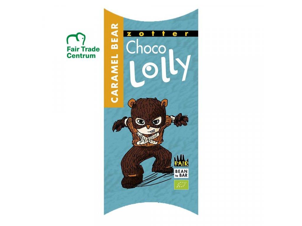 1246 1 fair trade bio cokoladove lizatko zotter lolly karamelovy medved