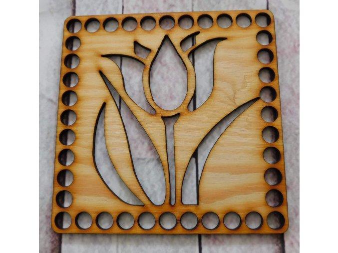 dno k háčkování čtverec tulipán