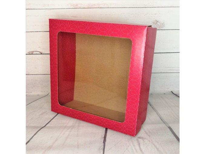 Krabice kartonová s oknem malá - červená