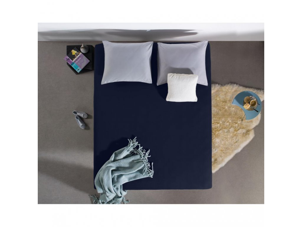 Prostěradlo Jersey modrá 160/180x200