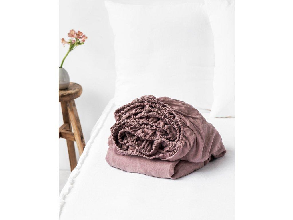 Lněné prostěradlo Dark Grey 90x200x20cm