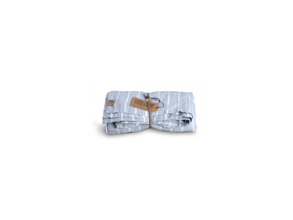 Lovely Linen stolní běžec Misty Stripe sky 47x150