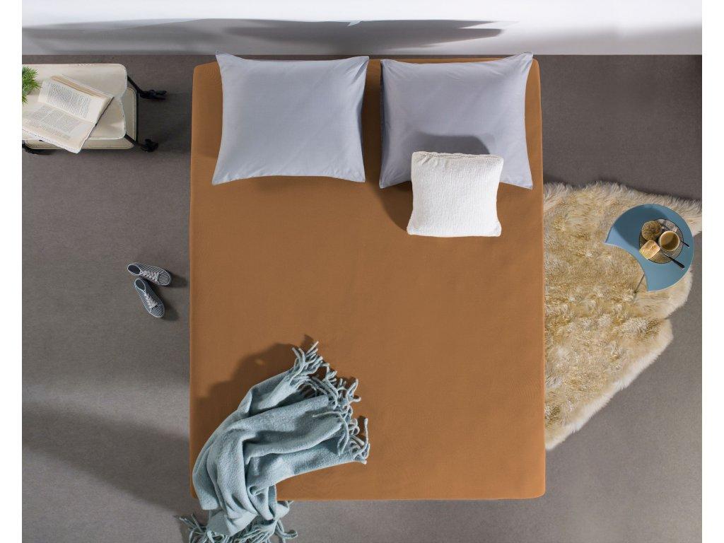 Prostěradlo Jersey pastelově oranžová 160/180 x 200