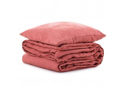 Lněné dětské povlečení Rustikální růžové 90x135, 40x60