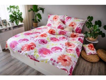Ložní povlečení 3dílné Flores pink 140x200 + 70x90 + povláček 40x40 cm