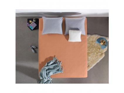 Prostěradlo Jersey pastelově oranžová 80/90/100 x 200
