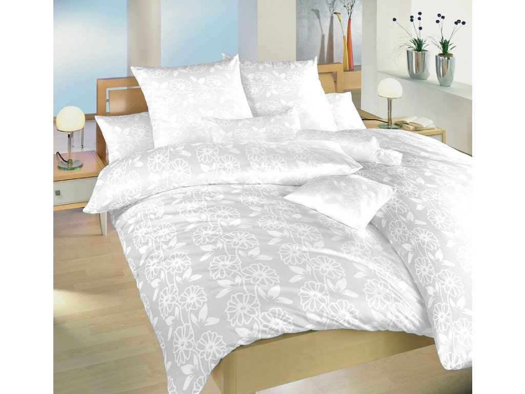 Obliečky damask Jiřiny biele 70x90 cm povlak