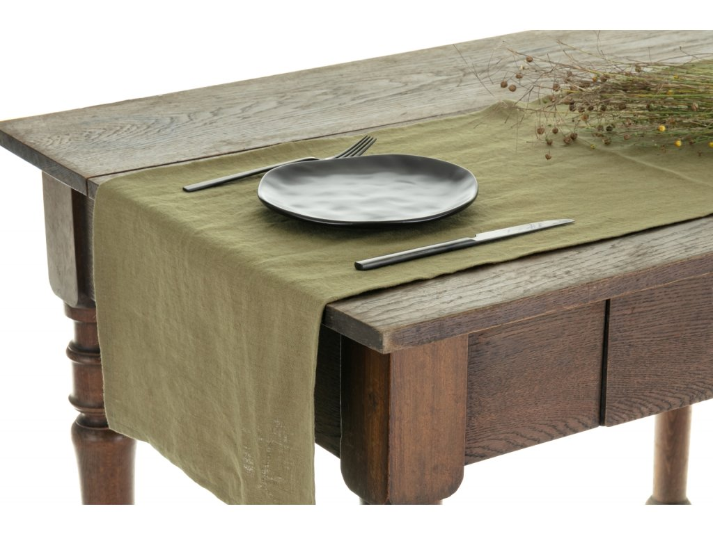 Tom Linen stolný bežec Martini Olive 40x140
