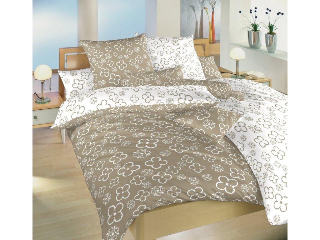 Obliečky bavlna Štvorlístok biely / opál DUO 140x200, 70x90 cm