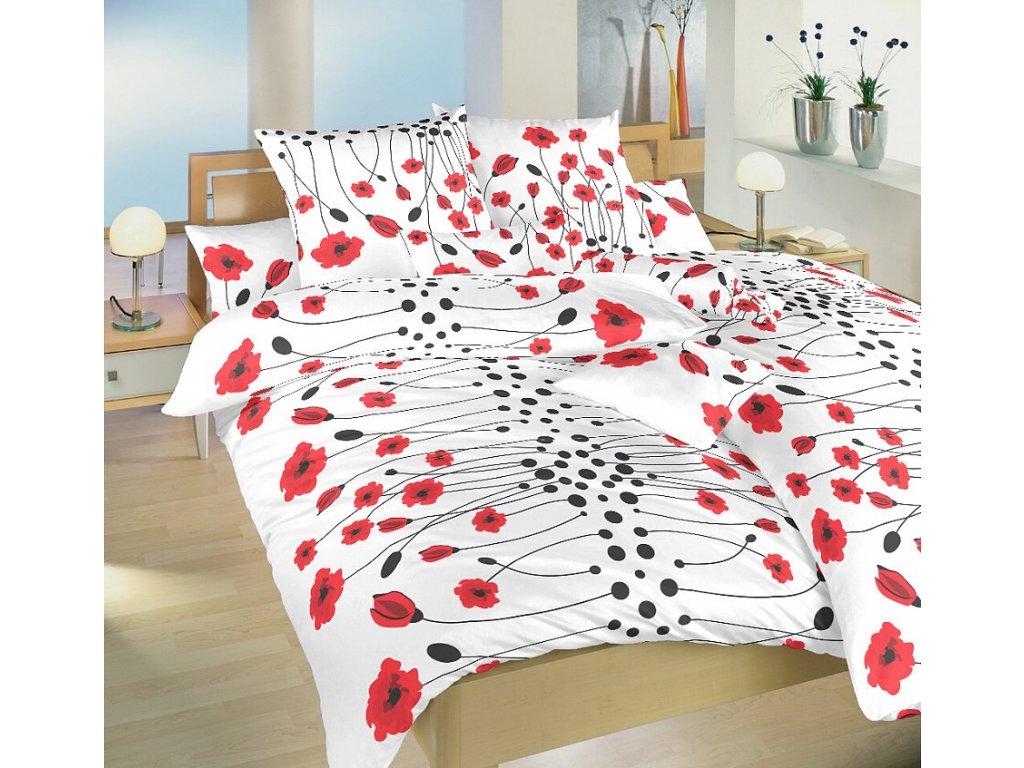 Obliečky bavlna Vlčie maky červené 140x200, 70x90 cm