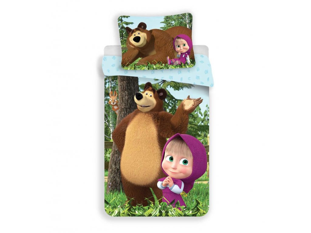 Obliečky Máša a Medveď Forest 140x200, 70x90 cm