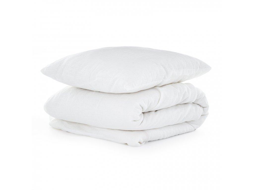 Ľanové obliečky White 140x200,50x70