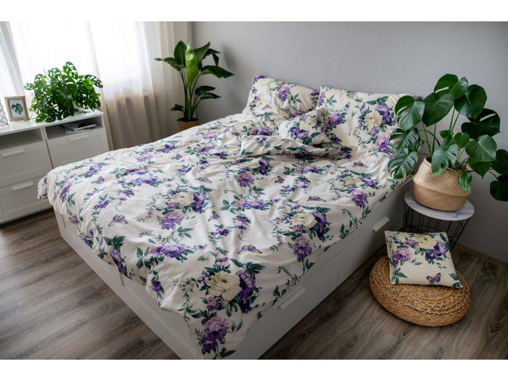 Posteľné obliečky 3dielne Violeta 140x200 + 70x90 + povlak 40x40 cm