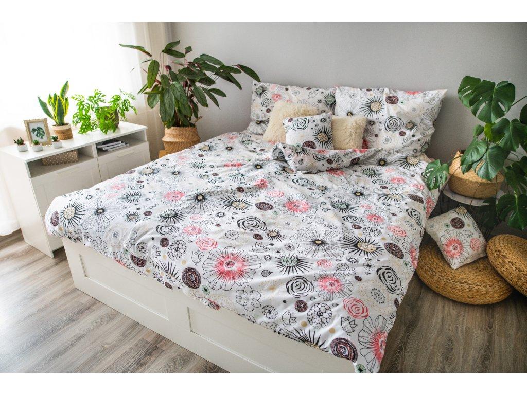 Posteľné obliečky 3dielne Mandala biela 140x200 + 70x90 + povlak 40x40 cm